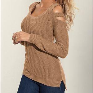 Venus cutout shoulder sweater beige medium
